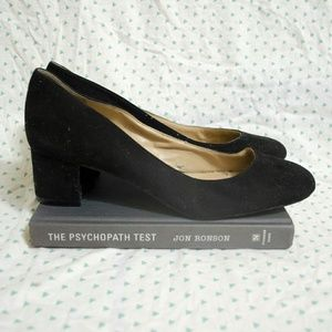 "Saks Black Suede 2"" Heels (Size 8)"